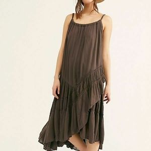 Free People Bare It All Tiered Solid Boho Dress XS
